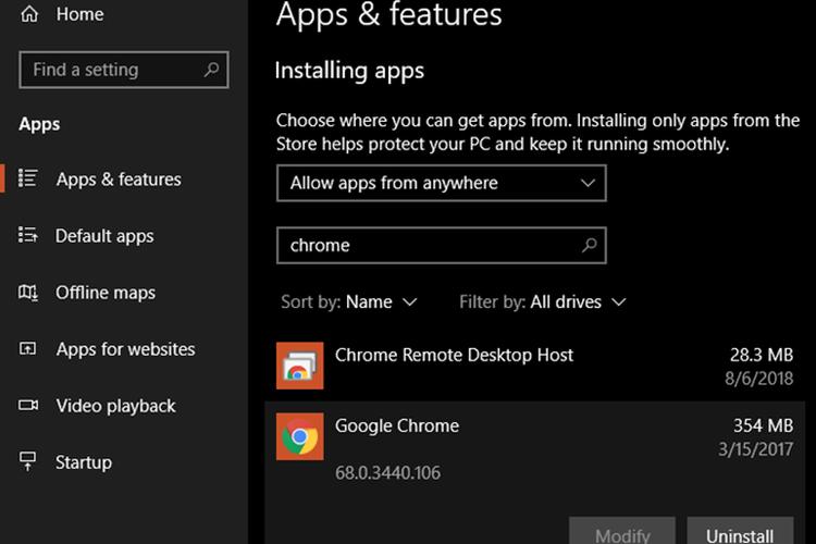delete apps in windows 10