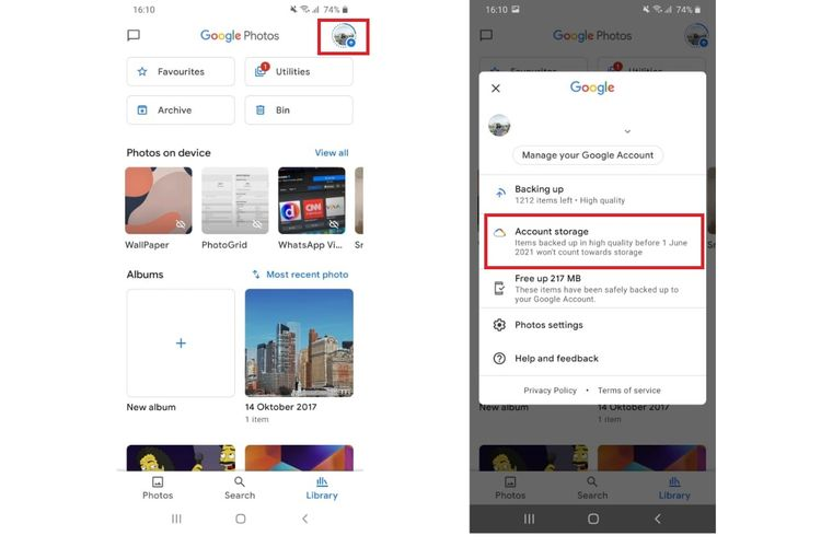 Check Google Photos Remaining Storage